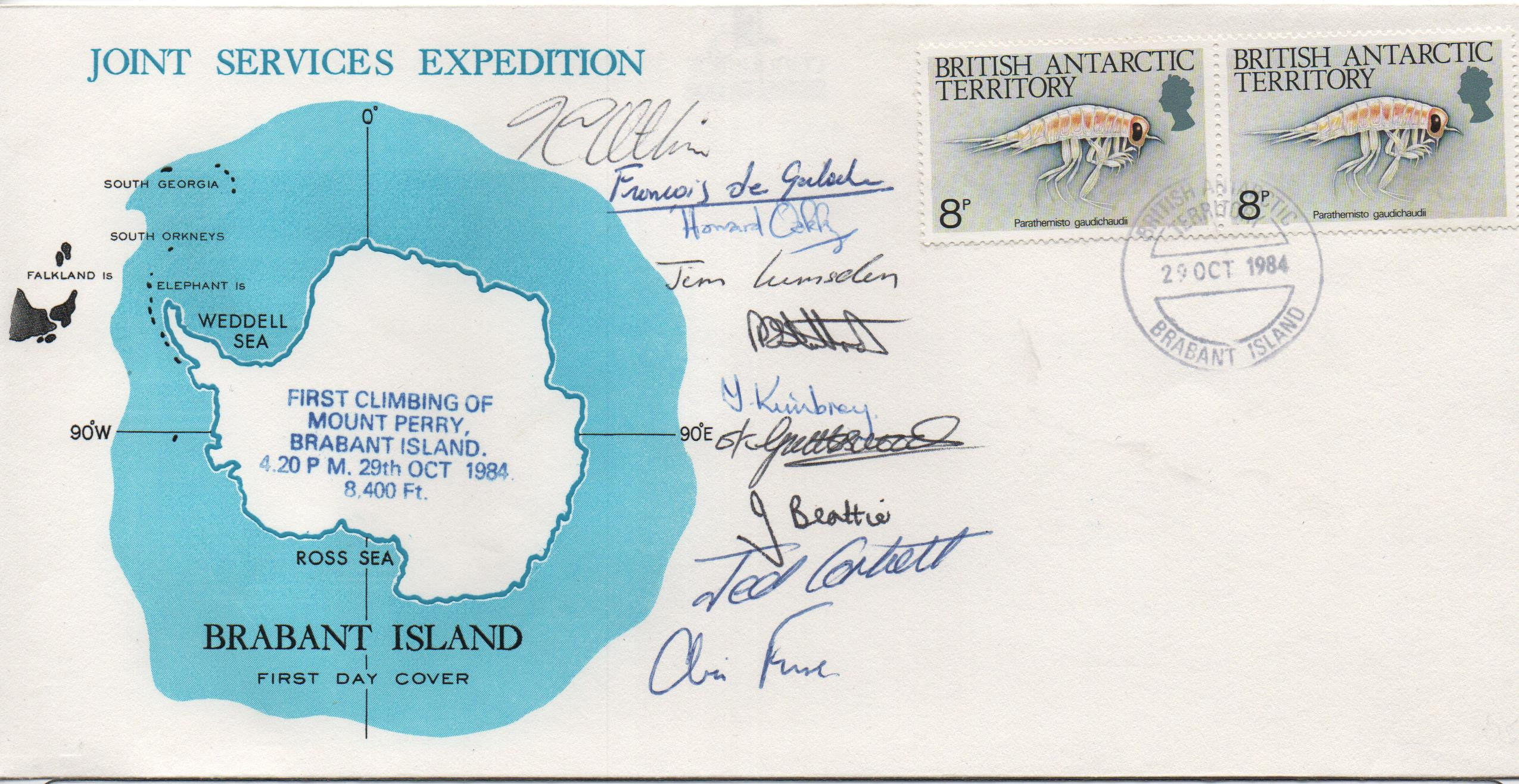 1984 B.A.T Joint Services Expedition on Brabant Island multi-signed cover