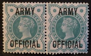 sgO42 ½d blue-green ARMY OFFICIAL pair - M/Mint
