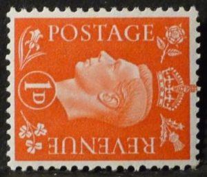 sg463a 1d scarlet (wmk sideways) - U/M