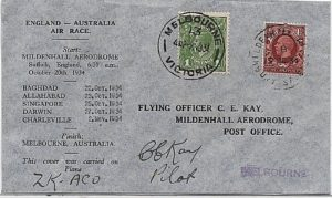 1934 England - Australia Air Race cover - signed
