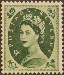 sg551 9d bronze-green (St Edward`s Crown) – U/M