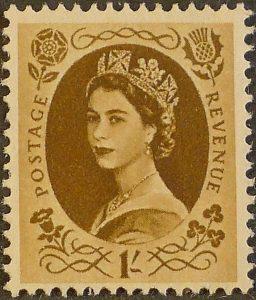 sg554 1s bistre-brown (St Edward`s Crown) – U/M