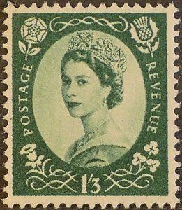 sg555 1s3d green (St Edward`s Crown) – U/M