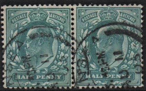 sg215 ½d dull blue-green pair spec M1(e) displaced cliche with cert
