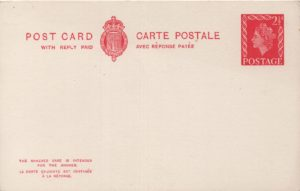 1958 2½d+2½d carmine inland Reply Card - Huggins CP110a