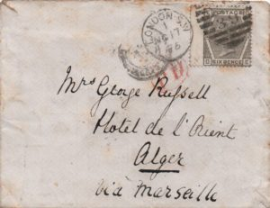 sg147 6d grey (D-E) plate 14 on 1875 cover to Algiers