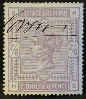 sg175 2s6d lilac on blued paper - fiscally used