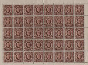 KGVI sg478c £1 brown complete sheet - U/M