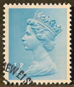 sgX842 ½p turquoise blue (1 side band at left) - Fine used