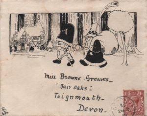 1919 envelope to Teignmouth franked KGV 1½d showing pen & ink illustration.