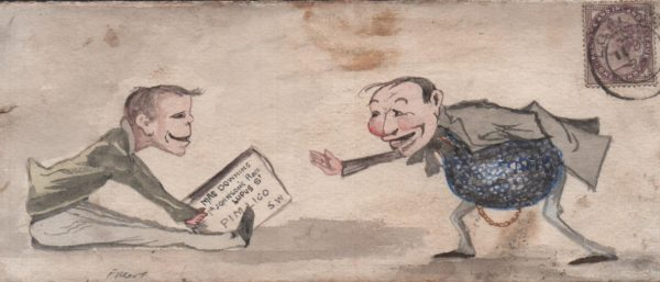 1894 front used locally in London, showing hand painted water colour of two gents greeting each other, franked 1d lilac, with tied London cds