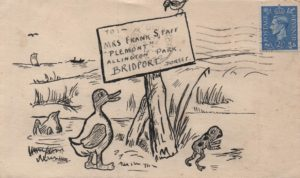 1946 illustrated envelope from East Dulwich to Bridport