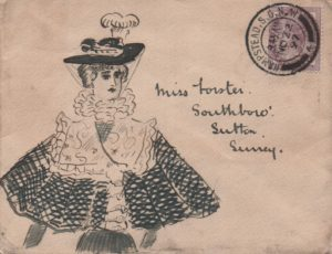 1897 envelope from Hampstead to Sutton, Surrey franked with 1d lilac, tied Hampstead double ring cds, with a hand illustration of a well dressed lady.