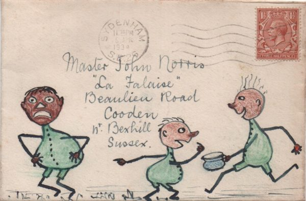 1934 hand illustrated envelope from Sydenham franked with KGV 1½d