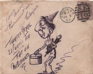 1895 envelope from London to Portsmouth franked with 1d lilac, tied with a London duplex, showing a pen & ink hand illustration.
