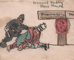 1912 envelope to Viscount Sudley at Broadstairs, franked 1d red, tied Sawbridgeworth double ring cds, showing coloured illustration of a man being apprehended by the police.