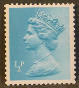 sgX842 ½p turquoise blue (1 side band at left) - U/M