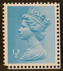 sgX842 ½p turquoise blue (1 side band at left) – U/M