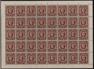 KGVI sg478c £1 brown complete sheet – U/M