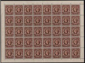 KGVI sg478c £1 brown complete sheet – U/M
