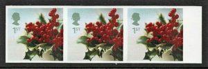 2002 Christmas sg2322 imperf strip of 3 - U/M