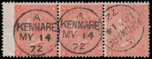 sg95 4d deep vermilion (KG-KI) Plate 12 strip with fine 1872 KENMORE cds