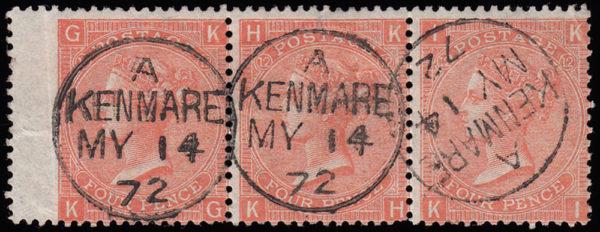 sg95 4d deep vermilion (KG-KI) Plate 12 strip with fine 1872 KENMORE cds