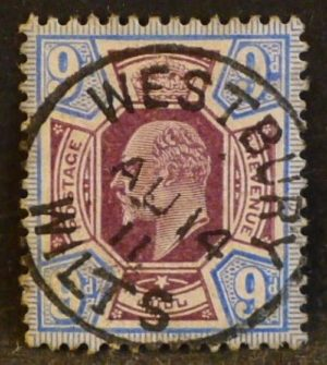sg251a 9d slate-purple & ultramarine with superb 1911 WESTBURY WILTS cds