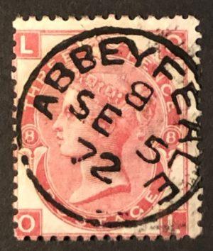sg103 3d rose (O-L) Plate 8 with superb 1872 ABBEYFEALE cds