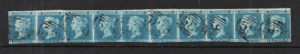 sg13 1841 2d pale blue strip of 10