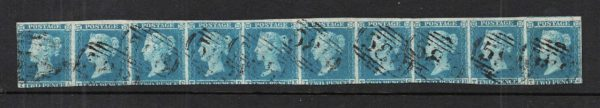 sg13 1841 2d pale blue strip of 10