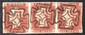 QV 1841 1d red-brown strip (BJ-BL) plate 24 with DUBLIN maltese crosses