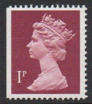 sgX844Ey var 1987 1p crimson (imperf left) with phosphor omitted - U/M
