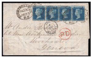 1857 sg34 strip (BB-BE) cover to Geneva