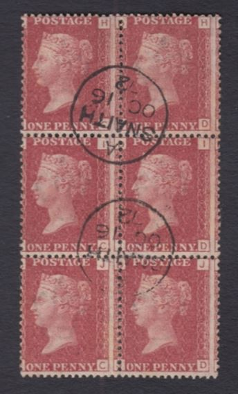 sg43 1d red block (plate 120) cancelled contrary to regulations with fine 1872 Snaith cds