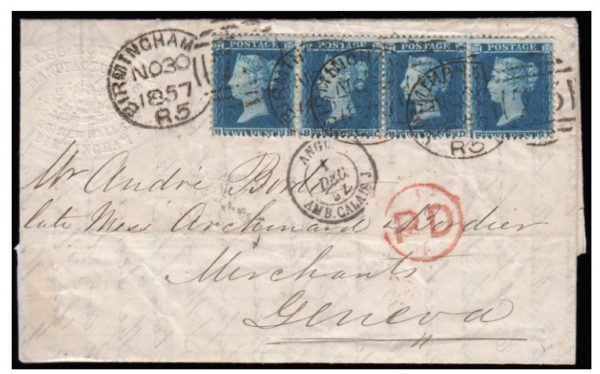 1857 sg34 strip (BB-BE) cover to Geneva