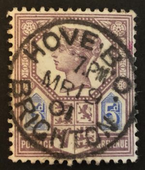 sg207a 5d dull purple & blue (Die II) with 1901 Hove cds