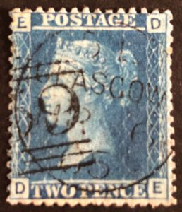 sg45 2d blue (D-E) plate 9 with 1865 Glasgow cds