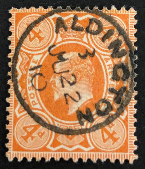 KEVII 4d orange with fine 1910 Aldington cds