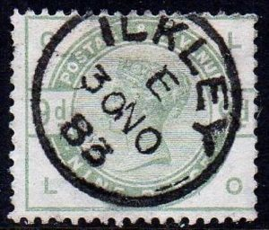 sg195 9d green with fine 1883 ILKLEY cds