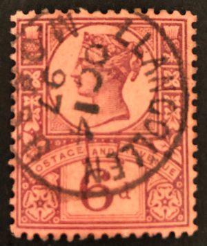 sg208/a 6d purple/rose-red with fine 1897 Llangollen cds