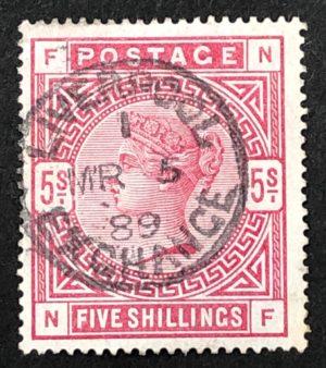 sg181 5/- crimson with fine 1889 Liverpool Exchange cds