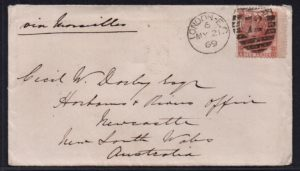 sg112 10d red-brown (A-D) plate 1 on 1869 cover to Australia
