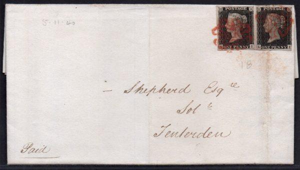 1840 EL to Tenterden with 2x 1d black plate 1b (NI-LI)