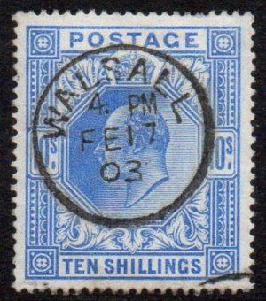 sg265 10/- ultramarine with fine 1903 Walsall cds