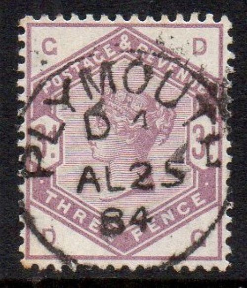 sg191 3d lilac (D-G) with fine 1884 Plymouth cds
