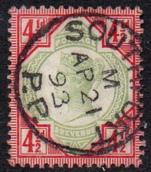 sg206 4½d green & carmine with fine 1893 Southport cds