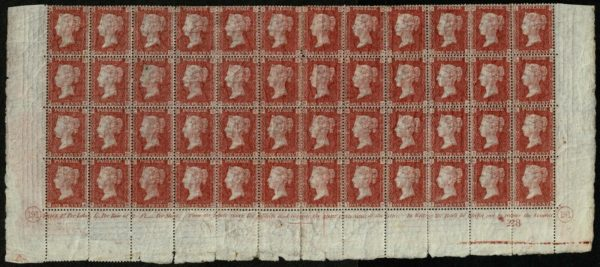 1864 1d Rose-Red QA-TL Plate 191 Block of 48