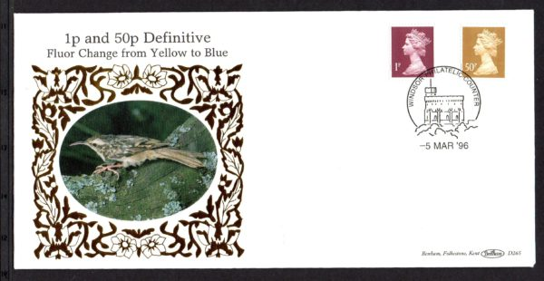 5-3-1996 1p and 50p Definitive FDC