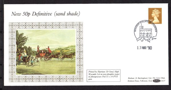 13-3-1990 New 50p Definitive (sand shade) FDC